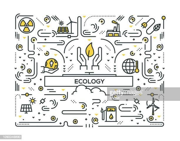 ilustraciones, imágenes clip art, dibujos animados e iconos de stock de ecología iconos línea diseño - ecosistema