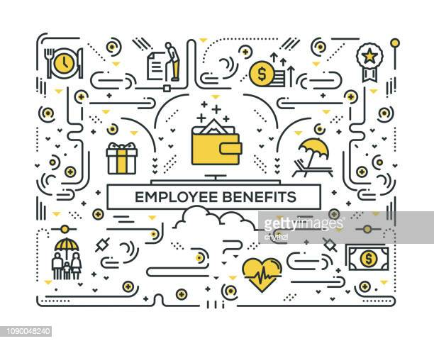 EMPLOYEE BENEFITS LINE ICONS PATTERN DESIGN