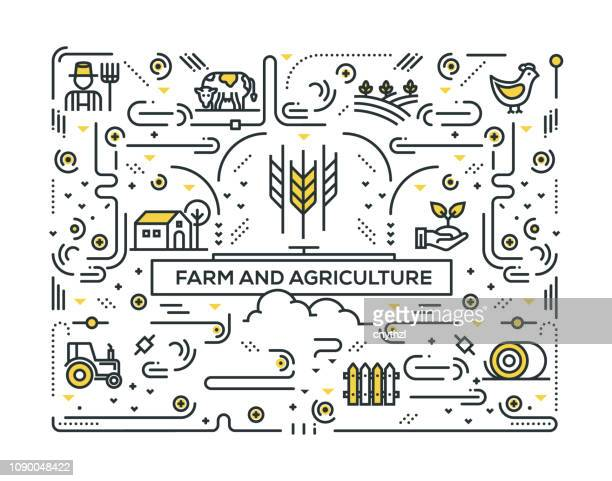 farm and agriculture line icons pattern design - cow stock illustrations