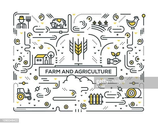 illustrations, cliparts, dessins animés et icônes de ferme et agriculture ligne icônes pattern design - ruche