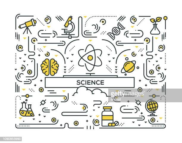 science related line icons pattern design - philosophy stock illustrations