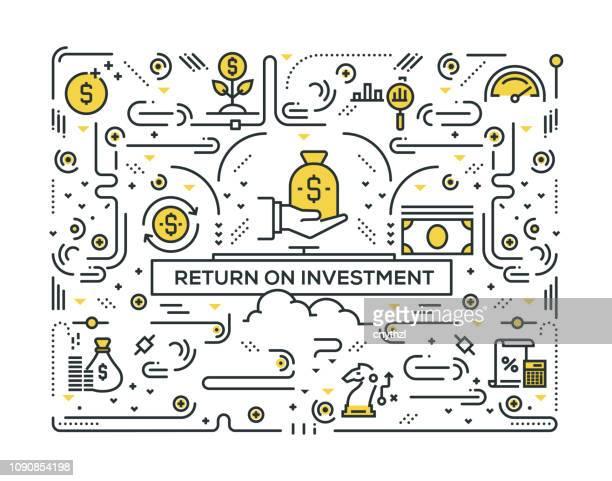 stockillustraties, clipart, cartoons en iconen met rendement op investering lijn pictogrammen patroon design - terugslaan