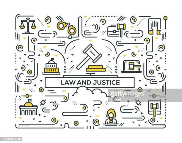 law and justice line icons pattern design - crime or recreational drug or prison or legal trial stock illustrations