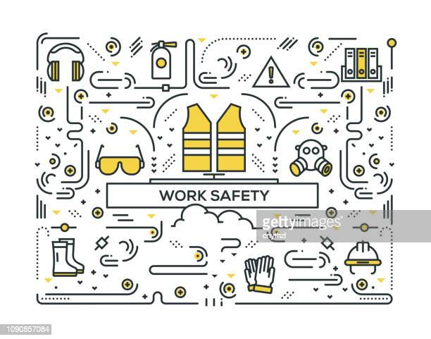 work safety line icons pattern design - protective workwear stock illustrations, clip art, cartoons, & icons