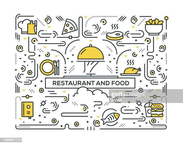 ilustrações, clipart, desenhos animados e ícones de restaurante e alimentos relacionados linha ícones padrão design - chapéu de cozinheiro