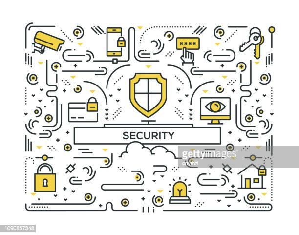 security line icons pattern design - eye scanner stock illustrations