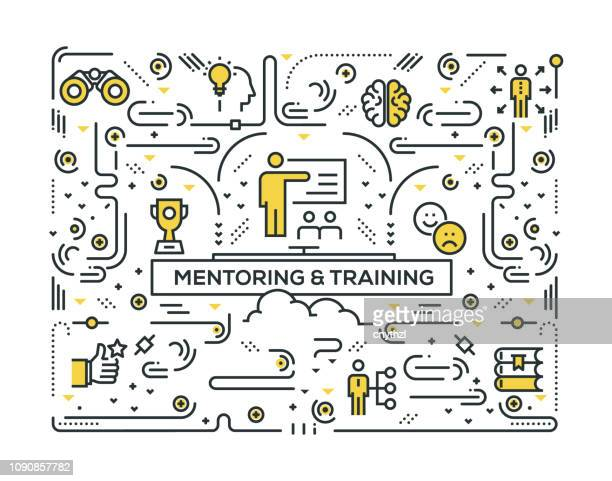 mentoring and training line icons pattern design - obedience training stock illustrations