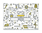 SEWING LINE ICONS PATTERN DESIGN