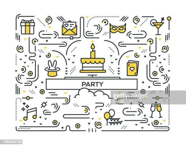 PARTY LINE ICONS PATTERN DESIGN