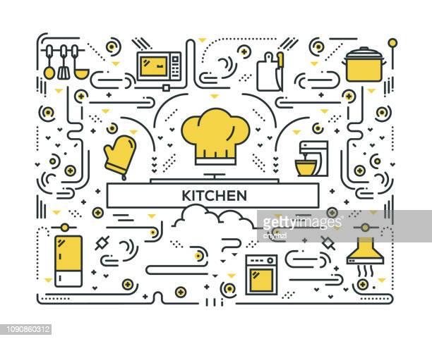 キッチン ライン アイコン パターン設計 - キッチン点のイラスト素材/クリップアート素材/マンガ素材/アイコン素材