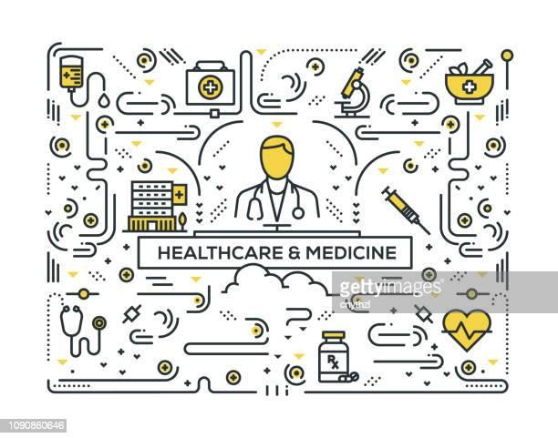 stockillustraties, clipart, cartoons en iconen met gezondheidszorg en geneeskunde gerelateerde lijn pictogrammen patroon design - verpleegkundige
