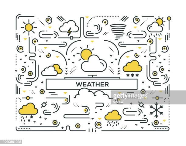 weather related line icons pattern design - fahrenheit stock illustrations