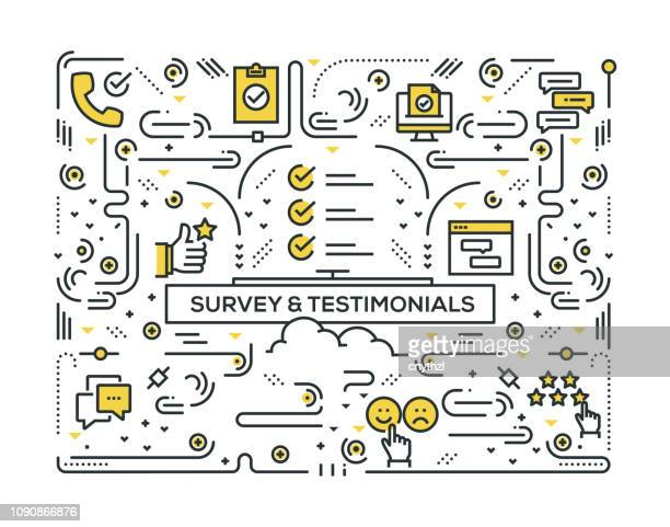 survey and testimonials related line icons pattern design - testimonial stock illustrations, clip art, cartoons, & icons