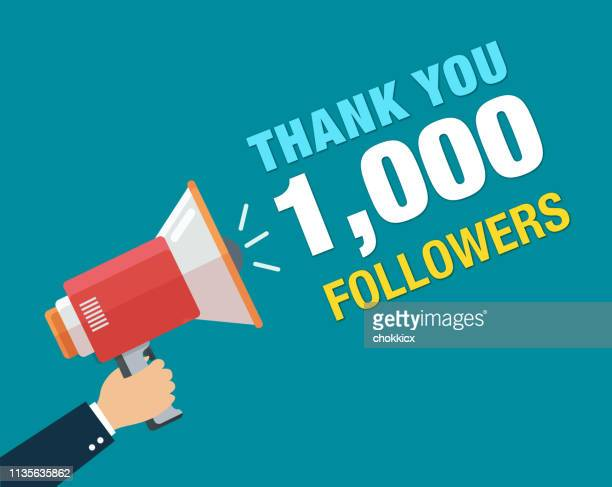 thank you 1000 followers ads - following stock illustrations