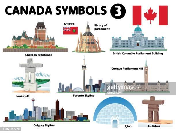 canada symbols-3 - parliament building stock illustrations