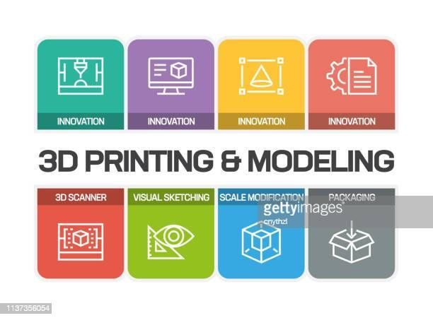3d printing und modeling line icons - rechnerunterstütztes konstruieren stock-grafiken, -clipart, -cartoons und -symbole