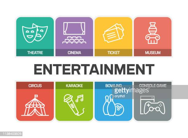 entertainment related line icons - theater industry stock illustrations, clip art, cartoons, & icons