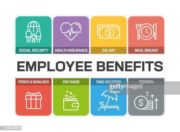employee benefits related line icons - social services stock illustrations