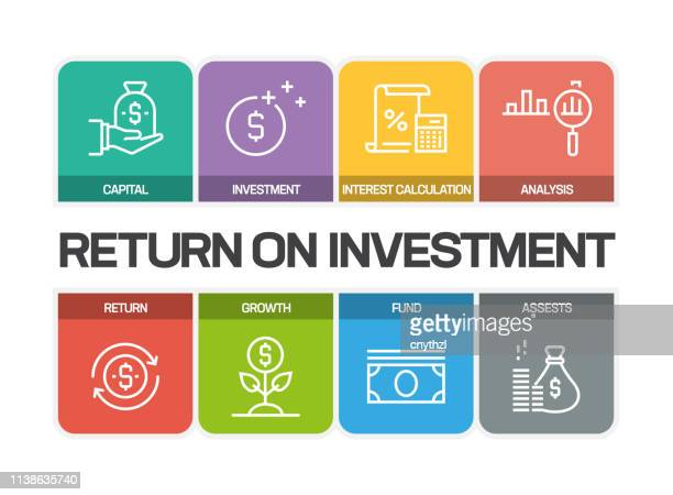 return on investment line icons - return stock-grafiken, -clipart, -cartoons und -symbole