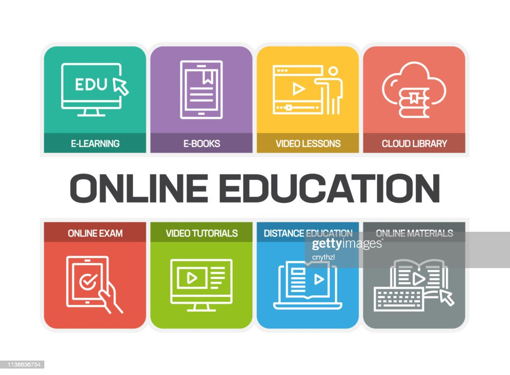 ONLINE EDUCATION LINE ICONS : stock illustration