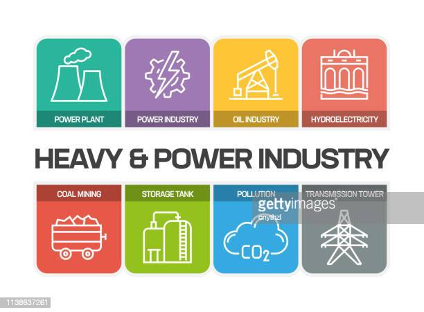 heavy and power industry line icons - petrochemical plant stock illustrations, clip art, cartoons, & icons