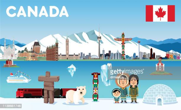 canada - totem pole stock illustrations