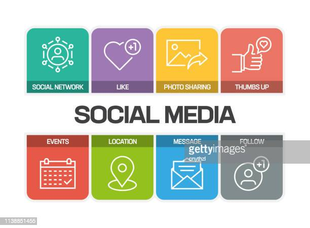 social media related line icons - social media icons stock illustrations