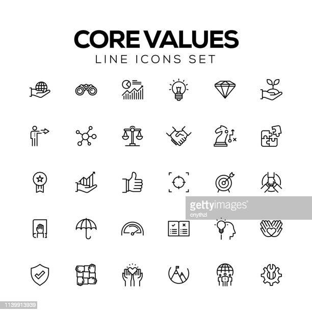 illustrazioni stock, clip art, cartoni animati e icone di tendenza di core values line icons - culture