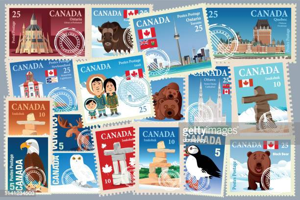 canada stamps - traditionally canadian stock illustrations