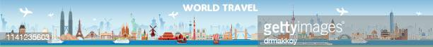 world travel - international landmark stock illustrations