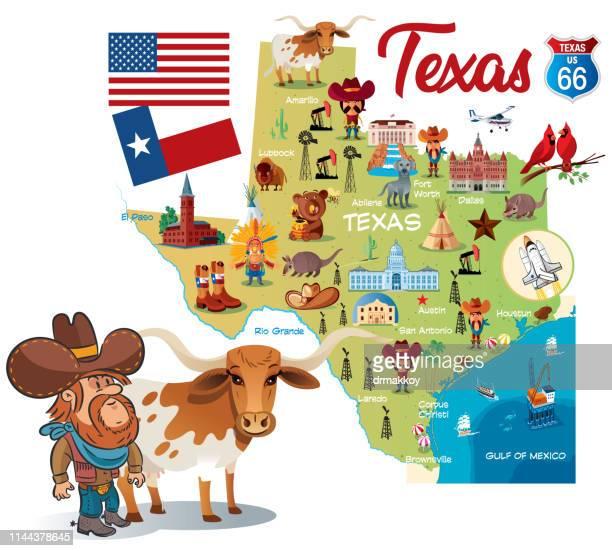 illustrazioni stock, clip art, cartoni animati e icone di tendenza di cartoon map of texas - texas