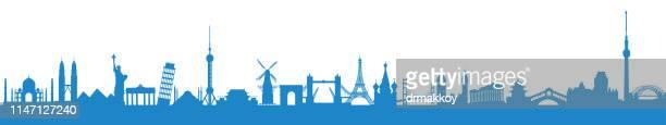 world travel - unesco world heritage site stock illustrations