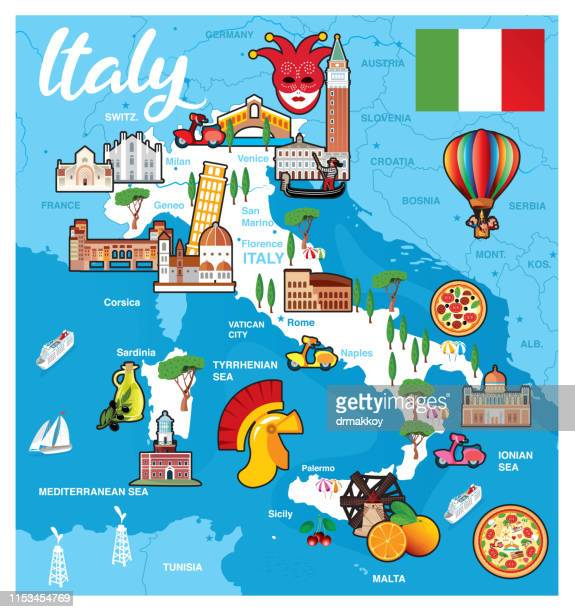 cartoon map of italy - valle d'aosta stock illustrations, clip art, cartoons, & icons