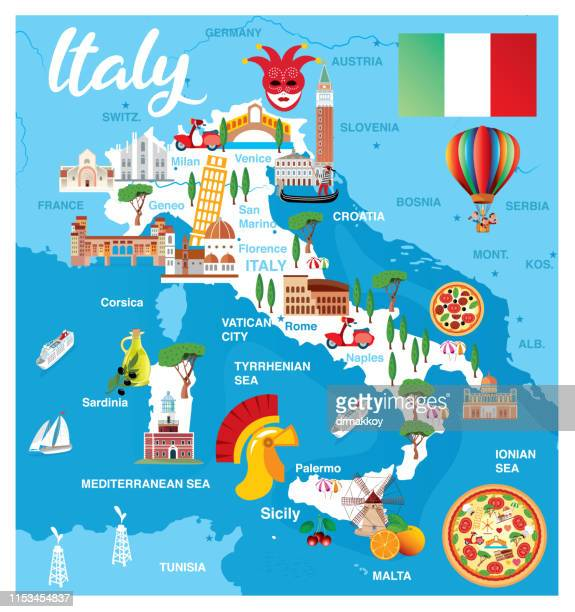 cartoon map of italy - italy stock illustrations