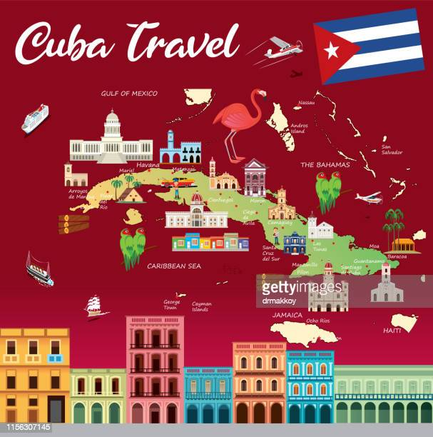cuba travel map - santa clara cuba stock illustrations