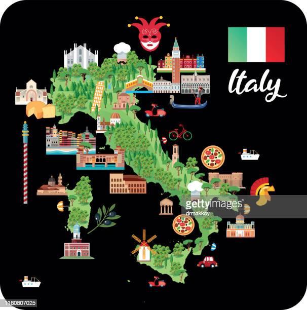 italy cartoon map - valle d'aosta stock illustrations, clip art, cartoons, & icons