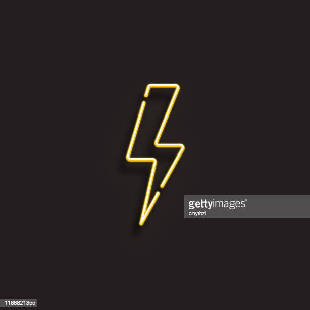 electricity icon - neon style - electric plug stock illustrations