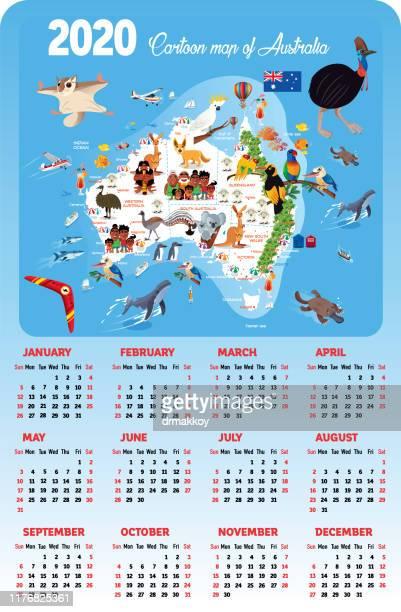 australia calendar - uluru stock illustrations