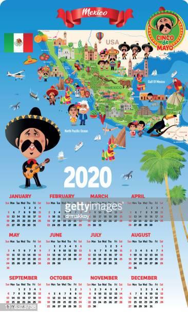 ilustrações, clipart, desenhos animados e ícones de calendário do méxico - pinata