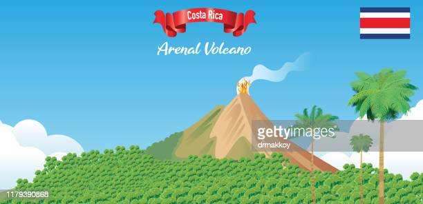 arenal volcano - stratovolcano stock illustrations, clip art, cartoons, & icons