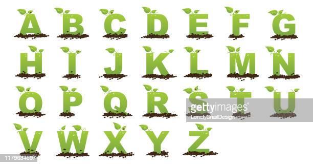 alphabet green - nature alphabet letters stock illustrations