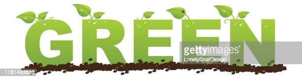 alphabet green green - nature alphabet letters stock illustrations