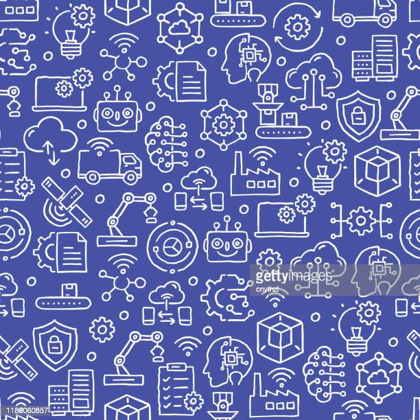 ilustraciones, imágenes clip art, dibujos animados e iconos de stock de patrón sin costura relacionado con la industria 4.0 - soldar