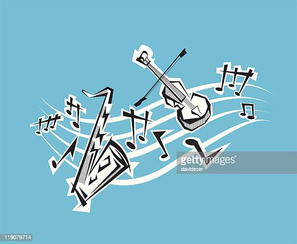 musical notes and instruments - classical stock illustrations