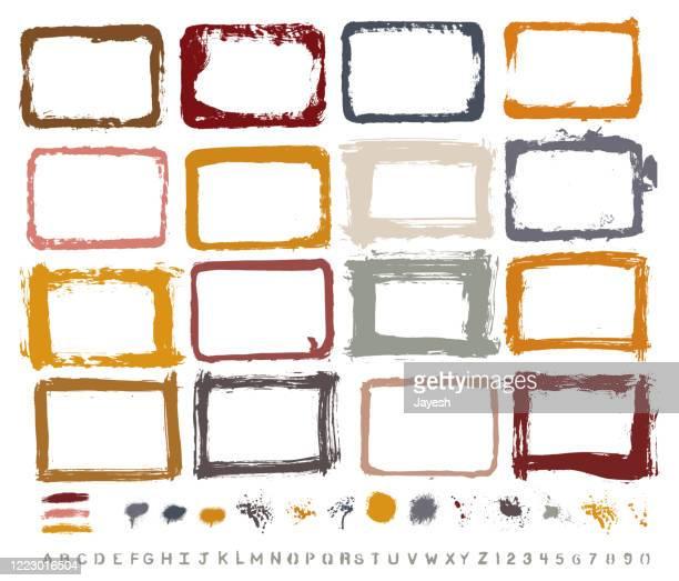 グラフィックデザインの必需品:グランジテクスチャ、手 - 塗装ボーダー、ペイントスプラッシュ、ブラシストローク、自家製塗装ステンシルアルファベット。高解像度 .jpegs およびグループ� - ワイヤーフレーム作成点のイラスト素材/クリップアート素材/マンガ素材/アイコン素材