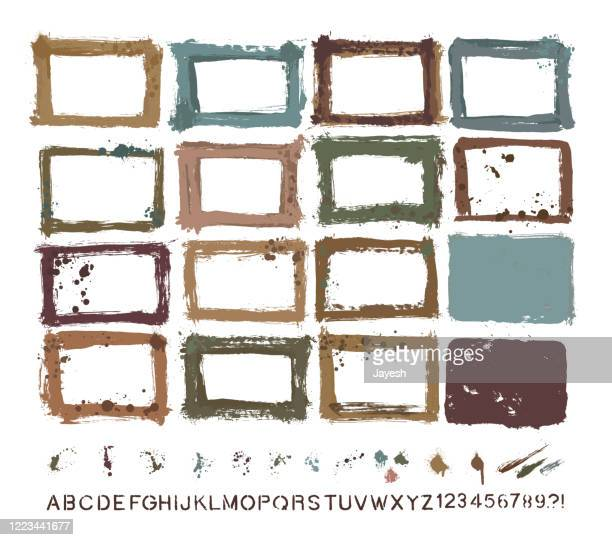 designer essentials: painted grunge border templates & splashes & drips & drops & hand-made alphabet font vector set - storyboard stock illustrations