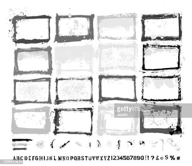 designer essentials: painted grunge border templates & splashes & drips & drops & hand-made alphabet font vector set - composite technik stock-grafiken, -clipart, -cartoons und -symbole