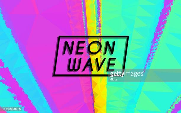 new retro wave creative neon color abstract graphic background - synthpop stock illustrations