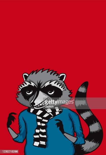 ilustraciones, imágenes clip art, dibujos animados e iconos de stock de ilustración vectorial de personajes de dibujos animados radical raccoon y diseño - inocentada