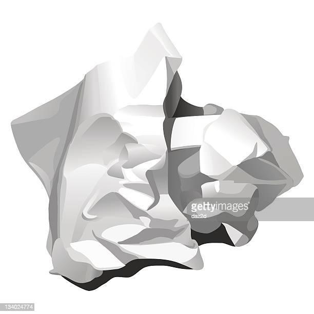 ilustraciones, imágenes clip art, dibujos animados e iconos de stock de papel arrugado (blanco - tirar basura